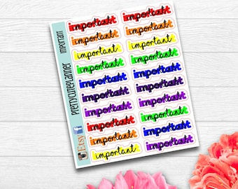Rainbow Important Stickers - Planner Stickers - Appointment stickers - Important stickers  - Meeting Stickers - Reminder stickers
