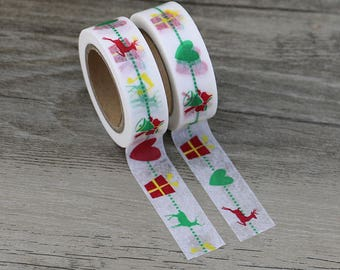 Washi Tape - Christmas Washi Tape - Reindeer Tree washi Tape - Paper Tape - Planner Washi Tape - Washi - Decorative Tape - Present Washi Tap