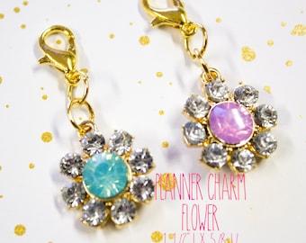 Planner Charm - Flower Gem Charm - Flower Planner Charm - Planner Accessories - TN Charm - Travelers Notebook Charm - Midori Charm