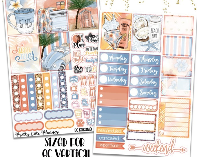 Featured listing image: Kokomo Planner Stickers - Beach Planner stickers - Fits Erin Condren Life Planner - Tropical Vacation Stickers - Beach vacation stickers