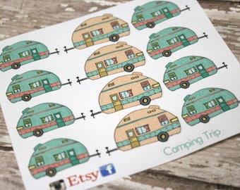 Vintage camper Planner Stickers - Reminder Stickers - Planner Stickers - Camping Stickers - Vacation Stickers - Happy Planner - Glamping