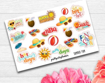 Summer Fun Stickers - Lets go to the Beach Stickers - summer stickers - summer bucket list stickers - BBQ Stickers - Family Time Stickers