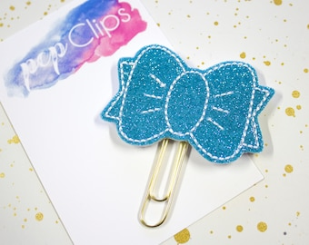 Turquoise Haley Planner Clip - Planner Bookmark - Exclusive Glitter Bow clip - Bow clip- Felt Planner Clip - Feltie clip - Glitter Bow Clip