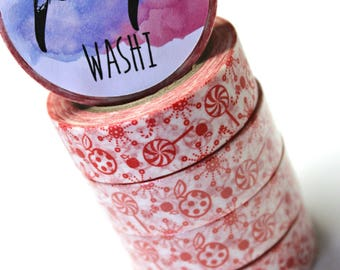 Red Candy Apple washi tape - Washi Tape - CandyWashi Tape - Paper Tape - Planner Washi Tape - Washi - Decorative Tape - Deco Paper