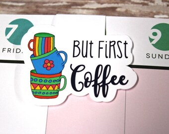 But First Coffee Bookmark - Magnetic Planner Bookmark - Coffee Planner Clip - But First Coffee Planner Clip - Magnetic Coffee Bookmark