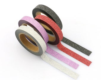 Skinny Glitter Washi - Red Glitter washi Tape -  Glitter Washi Tape - Paper Tape - Planner Washi Tape - Washi - Glitter Washi
