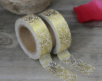 Washi Tape - Foil Washi Tape - Gold Floral Foil Washi Tape - Paper Tape - Planner Washi Tape - Washi - Decorative Tape - Deco Paper Tape
