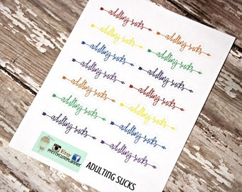 Planner Stickers - Adulting Sucks - Reminder Stickers - Functional Stickers - Snarky Adult stickers - Fits Erin Condren - Happy Planner