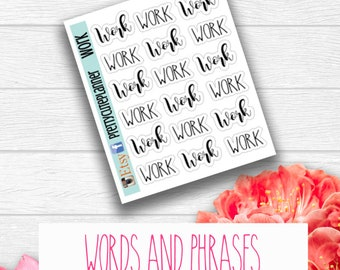 Word Day Stickers - Word Stickers - Planner Stickers - Work Time stickers - Job Stickers - Work Tracker - Hour tracker - Work stickers