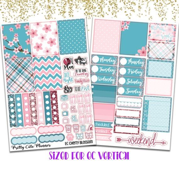 Cherry Horizontal Weekly Kit Planner Stickers for Erin Condren Life Planners uk