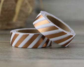 Copper Foil Diagonal Stripe Washi Tape - Copper foil washi Tape -  Washi Tape - Paper Tape - Planner Washi Tape - Washi - Decorative Tape