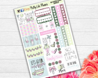 Planner Stickers Sampler - Pastel Llama Planner Stickers - Happy Planner - No Drama Llama - Functional sticker - Fits Erin Condren - Sampler
