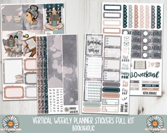 Bookaholic Planner Sticker - Reading Planner sticker - fits vertical planners - Bookish Stickers - Reading Stickers