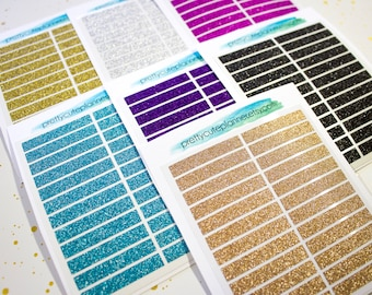 Real Glitter Header Planner Stickers - Big Happy Planner Glitter Headers - Happy Planner Glitter Headers - Fits Erin Condren Glitter Headers