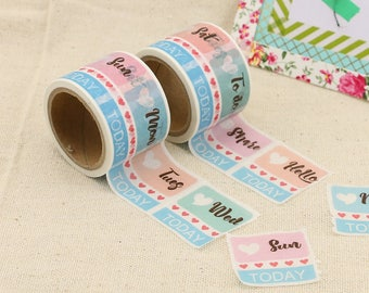 Washi Tape -Days of the Week Washi Tape - Week Day Washi Tape - Paper Tape - Planner Washi Tape - Washi - Decorative Tape - Deco Paper Tape