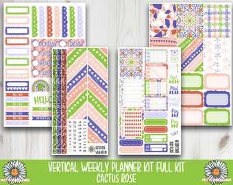 Cactus Rose Planner Sticker - Anytime Planner stickers - fits vertical planners - modern rainbow stickers - rainbow stickers