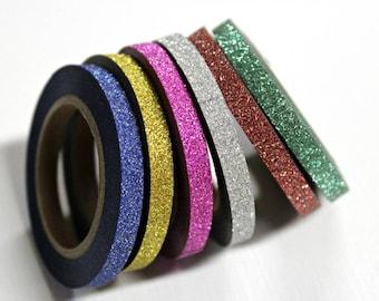 Skinny Glitter Washi Tape - Washi Tape - Paper Tape - Planner Washi Tape - Washi - Decorative Tape - Deco Paper Tape - Multi Roll Pack