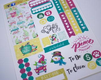 Planner Stickers Sampler - Happy Planner - Christmas Planner Stickers - Functional - Fits Erin Condren - Sticker Sampler - Let it snow