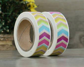 Washi Tape - Rainbow Striped Washi - Rainbow Chevron Tape - Paper Tape - Planner Washi Tape - Washi - Decorative Tape - Deco Paper Tape