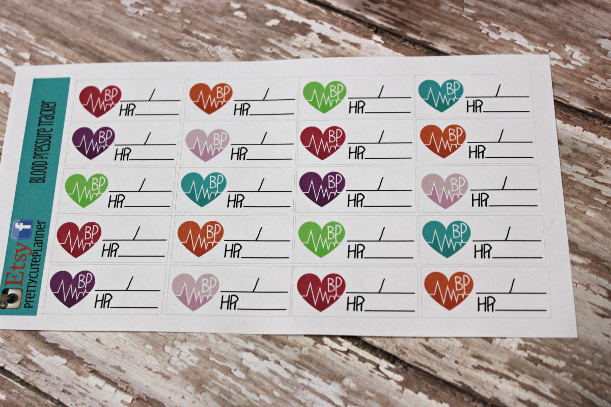 blood pressure planner stickers bp tracker planner stickers