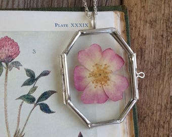 Pressed flower necklace - Glass Flower Locket - real flower - botanical necklace - flower pendant - nature jewellery - Rose