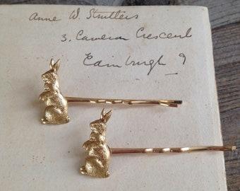 Gold rabbit hair pins - set of two -  rabbit bobby pins - raw brass - woodland wedding - nature inspired - bridal jewellery - golden brass