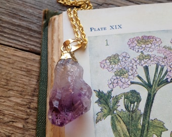 raw amethyst necklace - amethyst pendant - crystal pendant - crystal point - amethyst point - bohemian necklace