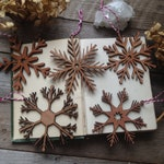 Wooden Snowflake Ornament Set - Christmass Tree - Snowflake Decoration - Scandi Christmas