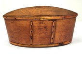 Vintage Wooden Decorative Box from Thailand Table Art Oval Pocket Box Jewelry Keepsake Trinket Box Boho Shaker Style Sewing Box