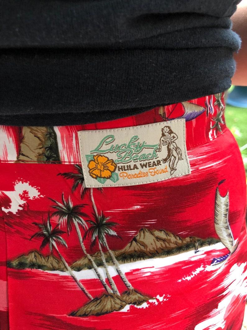 SALE Vintage Red Hawaiian Print Skirt  Lucky Beach Hlila Wear  Small