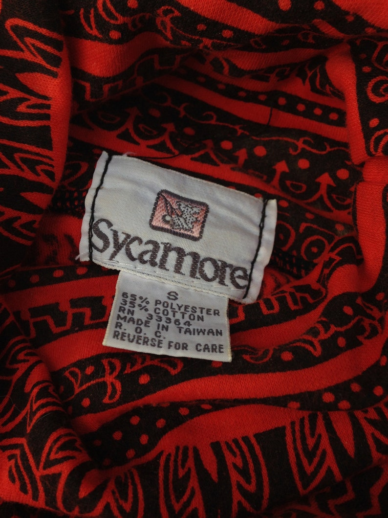 2 Vintage 1980/'s Red or Yellow Tribal Turtlenecks  Sycamore Size Woman/'s Small  Great Tribal Pattern