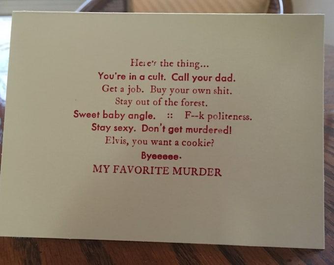 My Favorite Murder card