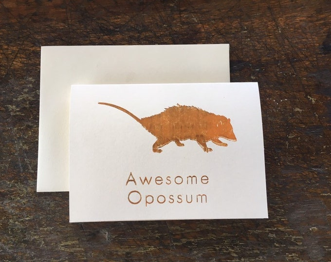 Awesome Opossum letterpress card