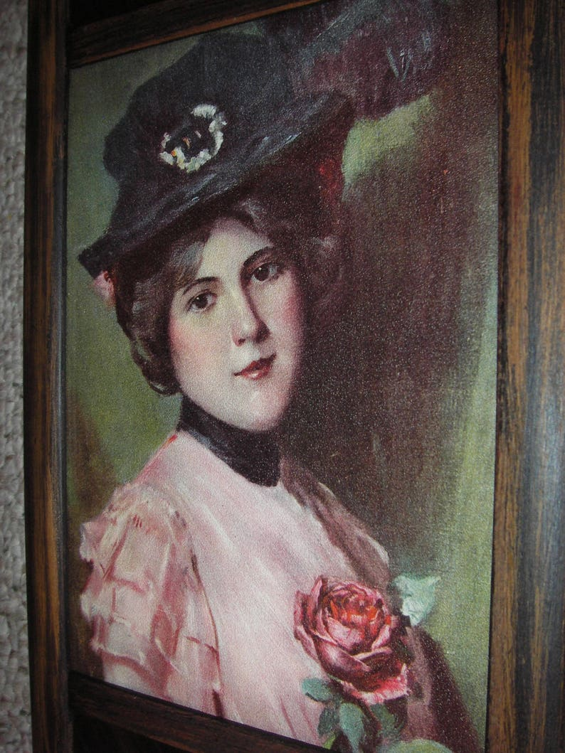 Nice Old Print of Victorian Lady With Bonnet and Rose in Worn Antique Frame with Brass Adornments