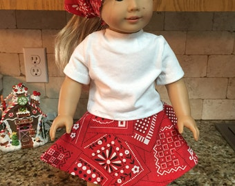 "Red Bandana 18"" Doll Skirt & Head Scarf with White Shirt"