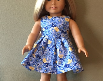 "Blue & Pink Flower 18"" Doll Dress - READY TO SHIP"