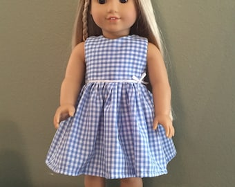 "Blue Gingham 18"" Doll Dress"
