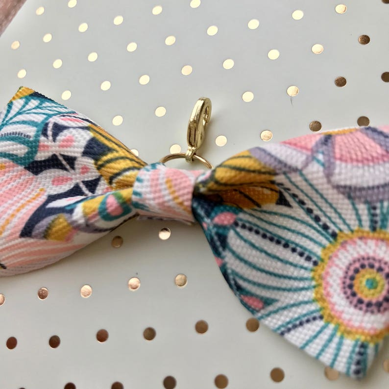 midori or travelers notebook bow charm Navy pink yellow white floral design grosgrain ribbon Gold hardware Planner
