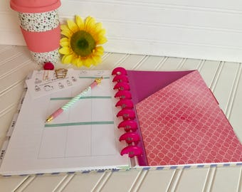Happy Planner pocket Holds stickers, note pads etc. for mini, classic or a large size planner. Pinkish purple designs.