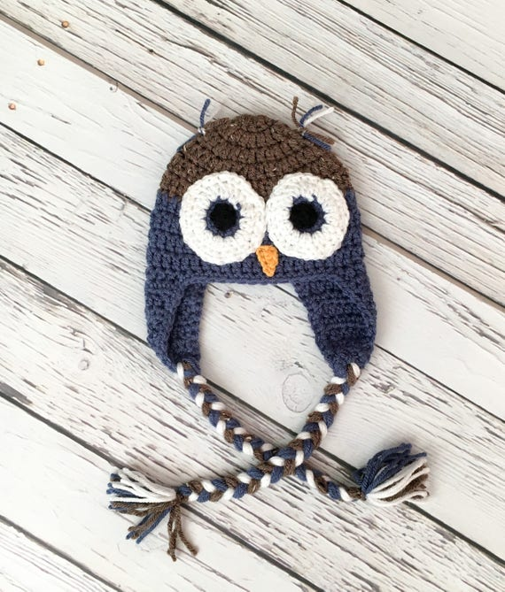 a9a90233131 Baby Owl Hat Crochet Hat Blue and Barley Owl Hat Handmade