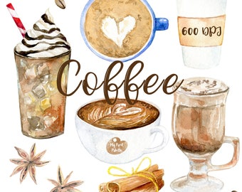 Watercolor Coffee Clipart 600 Dpi PNG Drink Collection Latte On Transparent Background For Scrapbooking DIY Cards