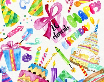 Watercolor Birthday clipart - hand painted clipart: Birthday, Holiday, Party, Celebration, 400 dpi PNG, scrapbooking, DIY cards