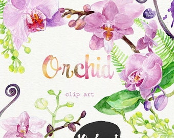 Watercolor Orchid clipart- hand painted: high resolution 600 dpi 10 JPEG files, 300dpi 10 PNG files, DIY cards