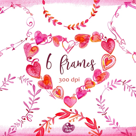 Watercolor Hearts Frames Clipart. Valentine\'s Day Love | Etsy