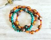 Boho Tangerine Bracelet Sets, Layering bead bracelet, Boho Bohemian Bracelet, Hippie Bracelet, 3 Piece Bracelets, Stackable Bracelets