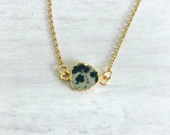 Dalmatian Jasper Necklace// Crystals Gemstone Necklace// Black White Polka Dot pendant// Dalmatian Jasper Pendant// Trillion Gemstone