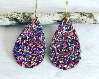 Rainbow Glitter Earrings// Teardrop Glitter Earrings// Faux Leather Earrings// Glitter Multicolor Earrings// Purple Red Glitter Earrings