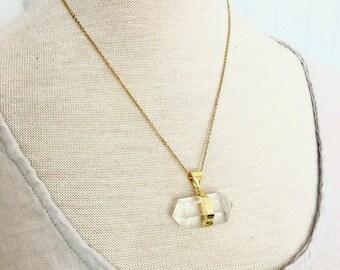 Clear Quartz Necklace // Point Crystals Necklace// Clear Quartz Crystals Healing Necklace// Geometric Crystals Gemstone