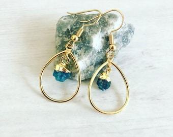 Blue Apatite Earrings// Gold Teardrop Earrings// Crystal Gemstone Earrings// Blue Crystals Earrings