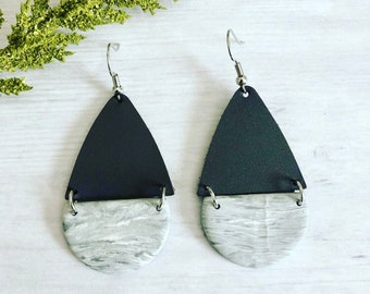 Leather Acrylic Teardrop Earrings// Grey Leather Earrings// Teardrop Earrings// Modern Leather Earrings